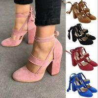 Women Block Chunky Heel Lace up Sandals Pump Heels Summer Casual Round Toe Shoes