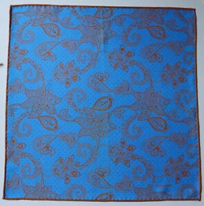 Duchamp London Silk, hand rolled Pocket square. Blue & orange Paisley. Pre-owned