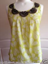 Boden New Summer Sleeveless Cotton Top Blouse Shirt UK 16 Yellowy Lime