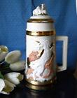 "Antique Unicorn Large Porcelain Decorative Mid Century Jar Beer Mug Height 13"""