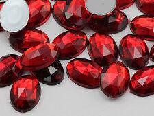 25x18mm Red Ruby H103 Flat Back Oval Acrylic Gemstones  20 PCS