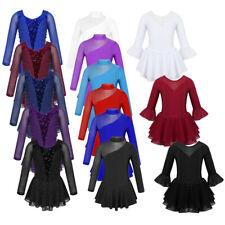 Girls Ice Skating Dress Kids Ballet Gymnastics Glitters Leotard Skirt Dancewear