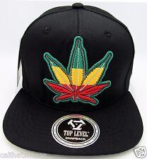 MARIJUANA Leaf Reflective Snapback Cap Hat Rasta 420 THC Weed  Black NWT