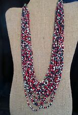 Vintage Red White & Blue Necklace Multi Strand Statement Jewelry Beaded #Fashion