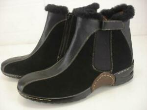 Women's sz 9 M Sofft Black Leather Boots Sheepskin Shearling Fur Trim Winter Zip