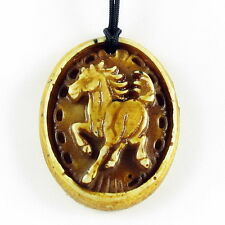 Zodiac Bone Necklace pendant Carved style w/ bead cord Horse Brown NEW