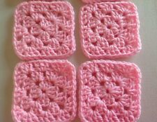 "20 4"" PINK Hand Crocheted GRANNY SQUARES Afghan Yarn Throw Blanket Blocks"