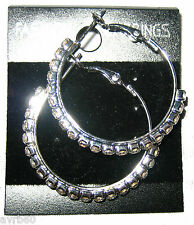 hoops earrings diamante lined 1.5 inches new