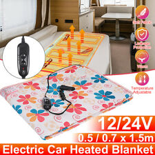 12V/24V Electric Heated Under Blanket Car sleeper Travel Throw Cosy Warm