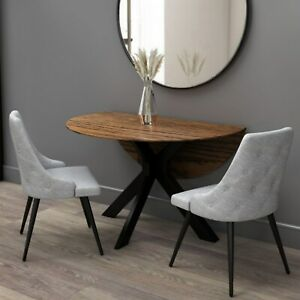 Walnut Round Drop Leaf Dining Table with 2 Grey Fabric Dining Chairs - Carson