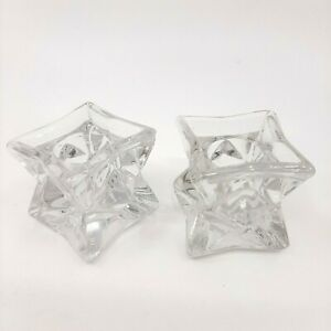Michael C Fina Fifth Avenue 24% Lead Crystal Star Set Of 2 Candle Holders