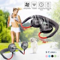 UK_ SPORTS PORTABLE USB RECHARGEABLE NECK HANGING DUAL MINI NECKBAND COOLING FAN