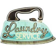 Laundry Service Iron Metal Sign Vintage Retro Home Decor for Laundry Room