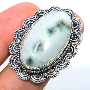 Moss Quartz Gemstone 925 Sterling Silver Bali Ring s.7 F257