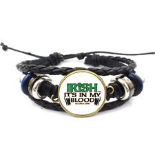 Irish In My Blood Glass Cabochon Bracelet Braided Leather Strap Bracelets