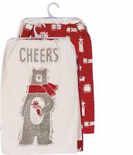 "New!~""Cheers"" Christmas Bear~Set of 2~Tea Towel 28""~Hand/Kitchen/Dis h/Polar"