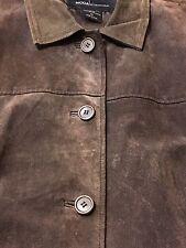 Victoria Secret Moda International Womens Brown 100% Suede Leather Jacket Coat M
