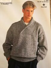 Patons Mens Easy Knit Chunky Sweater Knitting Pattern C 4048