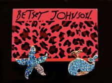 Betsey Johnson Whale Starfish Earrings  GOLD Blue  Crystals Adorable