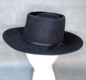 6 7/8 TERRIFIC AMERICAN HAT Co.3X BLACK GOUCHO STYLE BLACK FLAT CROWN COWBOY HAT