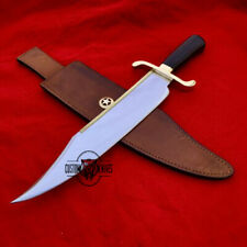 FANUM CUSTOM HANDMADE CARBON STEEL WALNUT WOOD HUNTING BOWIE WITH LEATHER SHEATH