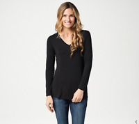 Laurie Felt Women's Knit V-Neck Long-Sleeve Top (Black, XL) A346617