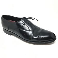 Men's Florsheim 20382 Oxfords Dress Shoes Sz 12D Black Leather Cap Toe Laced D13