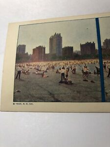 Vintage 1925 Chicago's 30-mile Bathing Beach  Stereoview Card