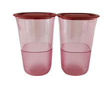 Tupperware Pink Bloosom Tall Water Drink Clear Glass (2) 400ml Limited Edition