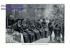 Chrismas party in women´s retirement home XL 1911 German print by Helene Harth +