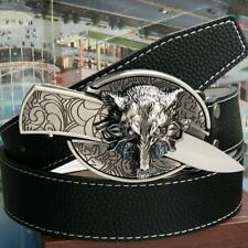 Men's retro belt wolf head buckle can be used to self-defense belt