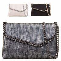Ladies Metallic Envelope Clutch Bag Chain Edge Evening Bag Party Handbag KL699