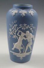 ART NOUVEAU SCHAFER AND VATER, HIGH RELIEF JASPERWARE VASE, DANCING COUPLE-RARE