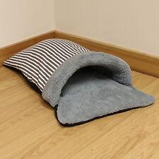 Grey Stripe Fleece Cat/Kitten/Puppy Soft Snug/Warm/Cosy Sleeping Bag Pouch/Bed