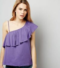 NEW LOOK - Womens Purple Asymmetric Frill Trim One Shoulder Top. Size 10. NEW.
