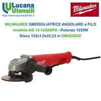MILWAUKEE SMERIGLIATRICE ANGOLARE modello AG 13-125XSPD - 1250W + Disco da 125mm