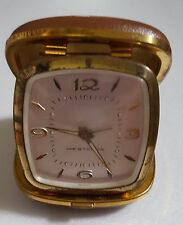"""Vintage Travel Clock Westclox Wind up Made in Germany Cowhide Case Approx 3 x 3"""""""