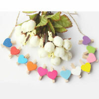 50pcs Mini Wooden Peg Clips Love Heart Shape Photo Clamp Holder Crafts