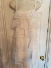 $348 BCBG MAXAZRIA Off White Sheer Silk Chiffon Lace Tiered Shift Dress Size 6