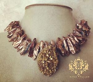 Aimee Fuller Cinnamon Brown Bronze Quartz Statement Necklace Chunky Druzy Gold