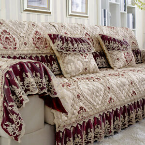 European Lace Linen Jacquard Sofa Covers 3/2 Seater L Shape Couch Slipcovers New