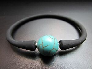 """Unisex Black Silicon Rubber Bracelet Turquoise Stainless Steel Post 7.5"""""""