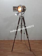 NAUTICAL DESIGN WOODEN CHROME SPOT LIGHT WOODEN TRIPOD FLOOR LAMP HOME DECOR