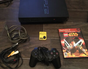 SONY PS2 PLAYSTATION 2 FAT CONSOLE SCPH-50001 BUNDLE CONTROLLER CORDS, Star Wars