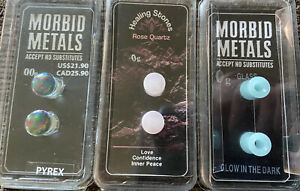 Morbid Metals Set Of 3 00g&0g Gauges Pyrex Glass,Quartz,Glow In Dark Plugs NIB