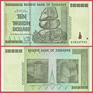 ZIMBABWE 10 TRILLION DOLLARS 2008 P88 BANKNOTE UNC