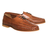 RRP £65 Mens Brixton Leather SlipOn Loafers Boat Summer Woven Smart Tan Hi Shoes