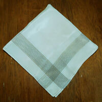 "Vintage Thin Silk Handkerchief Ivory Brown Stripes Mens Unisex 13"" Square"