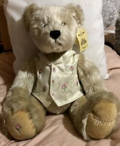 "Harrods Foot Marked 13"" Rosebud Teddy Bear Tagged - Only Displayed"