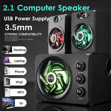 Multimedia 2.1 LED Heavy Bass Subwoofer Speaker USB For Desktop Computer
